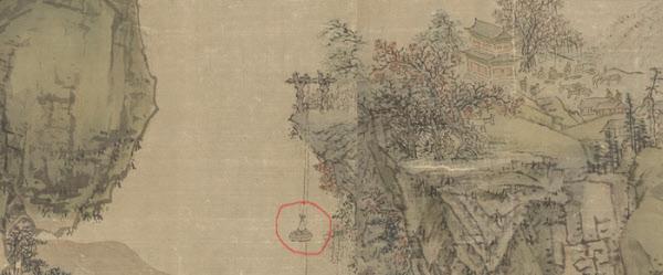 '강산무진도'에서 산꼭대기 마을 사람들이 도드래로 물자를 실어 내리는 모습. 붉은 원으로 표시한 부분이 도르래다. /국립중앙박물관