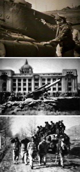 (위부터 아래로)파괴된 북한군 전차 보는 맥아더 - 맥아더 유엔군 사령관이 1950년 9월17일 파괴된 북한군 T-34 전차를 둘러보고 있다.  서울 중앙청 인근에 배치된 곡사포 - 1951년 4월 29일 서울 방어 전투 중 중앙청 인근에 배치된 국군의 곡사포들.  포로로 잡은 중공군들 - 1951년 2월 1일 수원 인근에서 중공군 포로들이 걷고 있다. 1·4 후퇴 이후 중공군 공세 때 잡힌 포로들이다. /국방부 제공