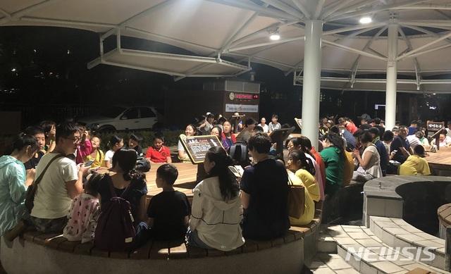 유성온천족욕체험하는 중국 의료관광객들