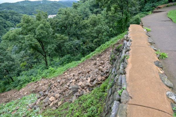 성벽 일부가 무너진 공산성 모습. /공주시