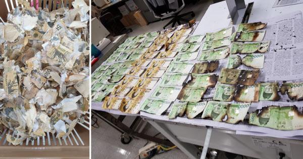 코로나 바이러스를 죽이겠다고 세탁기에 돈을 돌렸다가 훼손된 지폐(왼쪽). 역시 코로나 바이러스 박멸을 위해 전자레인지에 지폐를 돌렸다가 불에 탄 모습(오른쪽)./한국은행