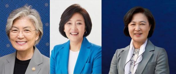 (사진 왼쪽부터) 강경화 외교부장관, 박영선 중소벤처기업부장관, 추미애 법무부장관.
