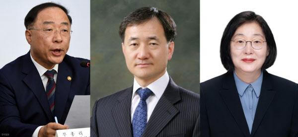 (왼쪽부터) 홍남기 경제부총리, 박능후 보건복지부장관, 이정옥 여성부장관.