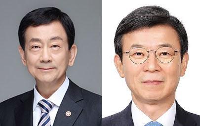 (왼쪽부터) 진영 행정안전부 장관, 문성혁 해양수산부 장관