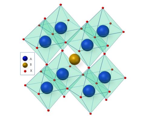 양이온 A와 B, 음이온 X가 1:1:3 비율로 결합한 격자 구조 광물인 '페로브스카이트'./한국화학공학회(NICE)