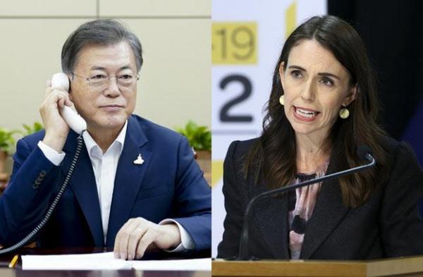 신다 아던 뉴질랜드 총리(오른쪽)와 통화하는 문재인 대통령. /AP 연합뉴스