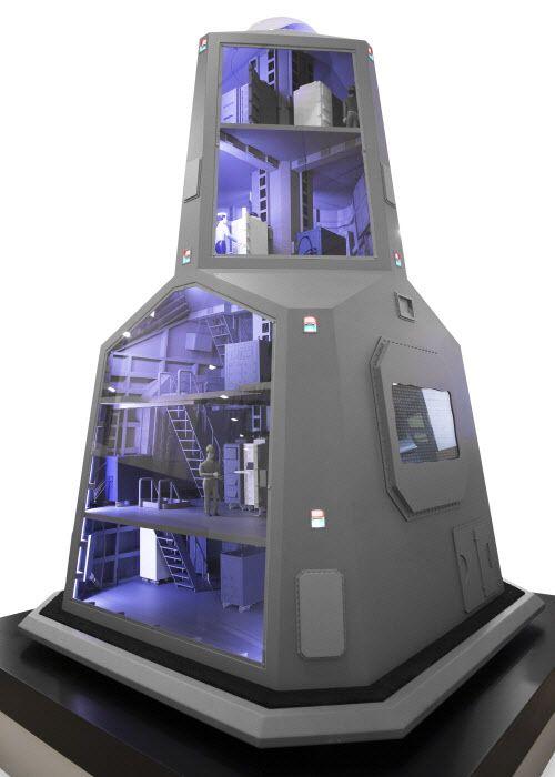 LIG넥스원이 제안한 한국형 차기구축함(KDDX) 통합마스트 내부 구성도. 5층 건물 높이인 통합 마스트엔 레이더, 통신장비 등 각종 센서들이 모여 있다./조선일보 DB