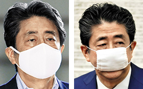아베 신조 일본 총리가 1일 턱을 덮는 일반적인 크기의 마스크를 착용했다(왼쪽 사진). 아베 총리는 앞서 4개월가량 코와 입만 간신히 덮는 '아베노마스크(아베의 마스크)'를 착용해왔다.