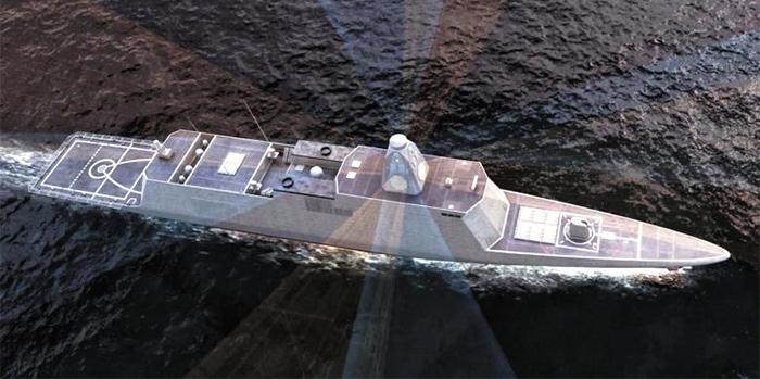 한국 최초의 국산 6000t급 스텔스 한국형 차기구축함(KDDX) 개념도. KDDX는 국산 첨단 전투체계, 레이더, 소나(음향탐지장비), 무장 등을 갖춘 해군의 차세대 주력 전투함이다.