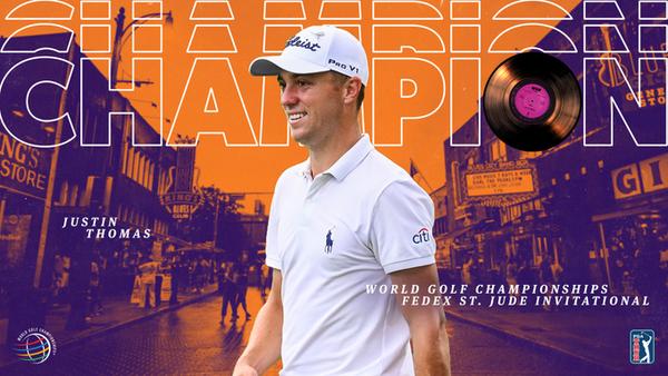 저스틴 토머스가 WGC 페덱스 세인트 주드 인비테이셔널 정상에 오르며 통산 13승째를 달성했다./PGA 투어 트위터