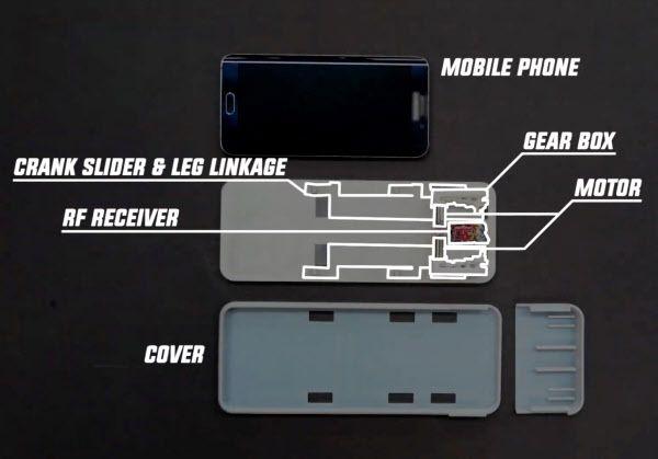 휴대폰 케이스의 구조는 '케이스 크롤러'입니다. 모터의 힘으로 6 개의 다리를 구부리고 뻗어 (오른쪽 중앙) 움직인다 ./ 서울 대학교