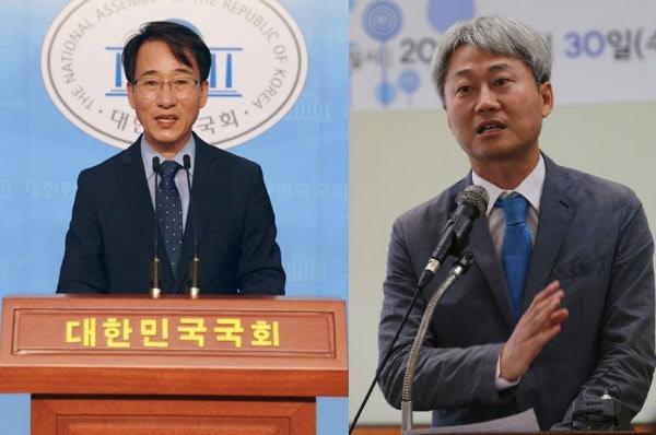 더불어민주당 이원욱(왼쪽) 의원과 김근식 경남대 교수