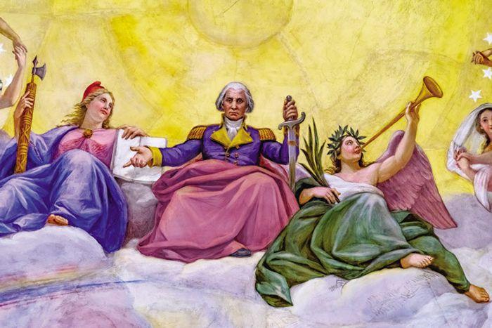 국회의사당 로툰다홀 천장화. 자유를 상징하는 여신(왼쪽)과 승리를 상징하는 여신(오른쪽)이 조지 워싱턴(가운데)을 보좌하고 있다.