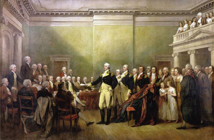조지 워싱턴이 독립전쟁이 끝난 후 1783년 12월 23일 메릴랜드 아나폴리스에서 대륙회의 의원들에게 총사령관 권한을 반납하는 장면.