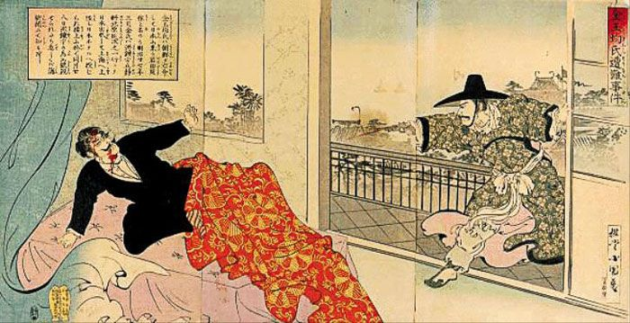 1894년 일본에서 발행된 '김옥균씨 조난사건' 목판화.