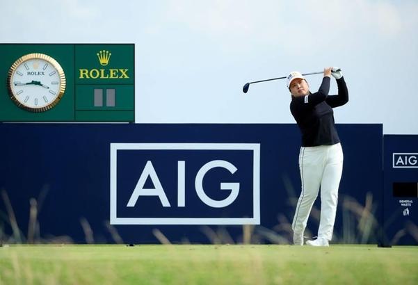 시즌 첫 메이저 대회인 AIG 여자오픈을 통해 6개월 만에 LPGA 투어에 복귀하는 박인비가 연습 라운드 도중 티샷을 날리고 있다./AIG여자오픈 홈페이지