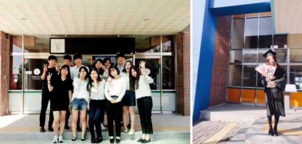 폴리텍 대학 동기들과 찍은 우아영씨(가운데), 폴리텍 대학 졸업식날 찍은 모습 /본인 제공