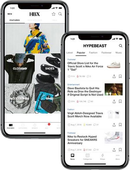 왼쪽부터 패션 커머스 플랫폼 'HBX'와 패션 콘텐츠 플랫폼 '하입비스트' 애플리케이션 화면. / 하입비스트