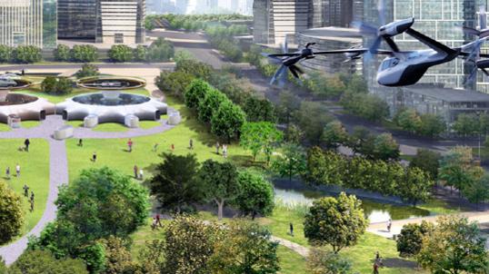 현대자동차가 제시한 도심 항공 모빌리티(UAM), 목적 기반 모빌리티(PBV), 모빌리티 환승 거점(Hub) 등 3가지 모빌리티 솔루션./현대자동차 제공