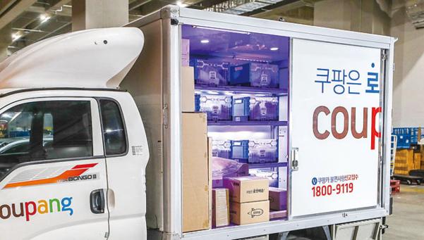 살균 장치가 설치된 쿠팡 배송 차량. / 쿠팡