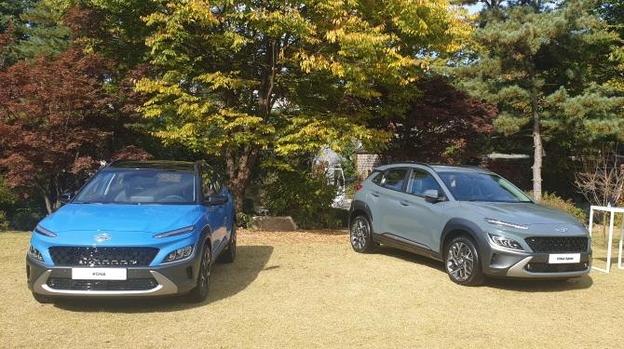 코나 가솔린 일반 모델과 하이브리드 모델(왼쪽부터). /조귀동 기자