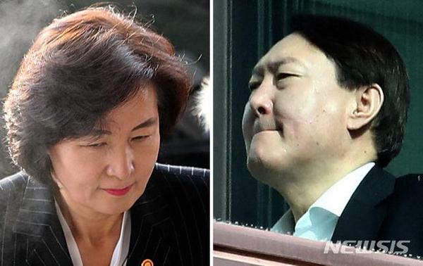 추미애 법무부 장관(왼쪽)과 윤석열 검찰총장. /뉴시스