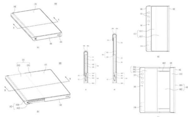 특허청 사이트에 공개된 LG전자 롤러블 스마트폰의 구조. 평상시엔 돌돌 말려 있는 액정이 오른쪽 화면을 당기면 말려나와 커진다. /키프리스