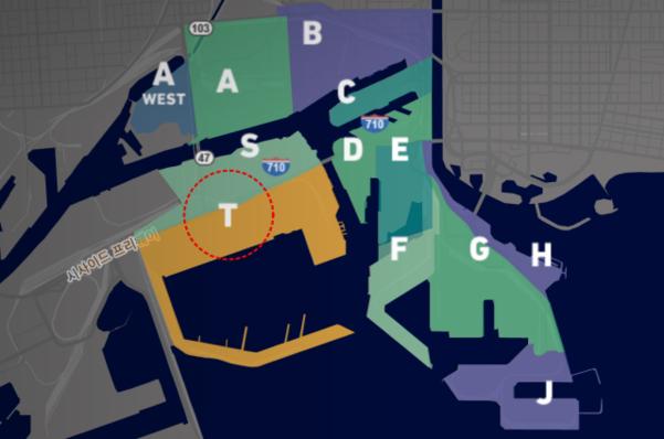 미국 롱비치항의 부두 지도. 부두T(붉은원)에 HMM의지분이 있는 TTI가 운영하는 컨테이너 터미널이 위치해 있다. /롱비치항만청 홈페이지 캡처