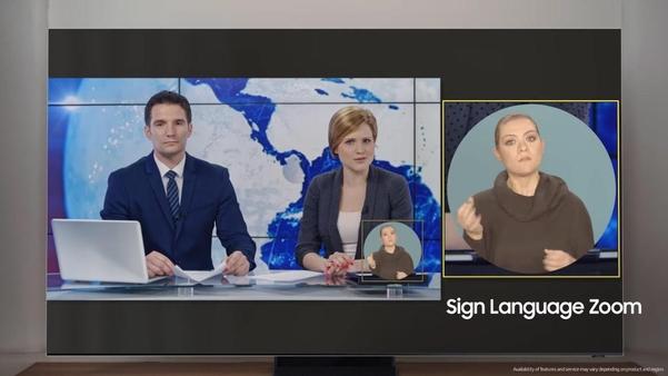 청각장애인이 수어를 더 잘 볼 수 있도록 영상을 확대하는 '수어확대 기능'. /삼성전자 유튜브