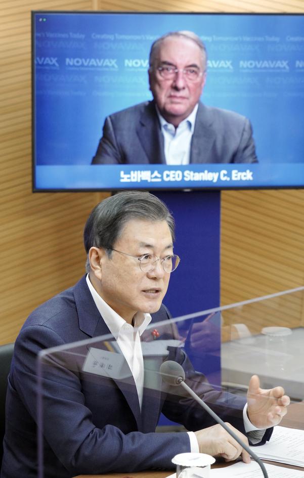 """코로나 1 년, NovaVax CEO와 20 분 이야기 文… 靑 """"백신 주권이 발전 할 것입니다""""(일반)"""
