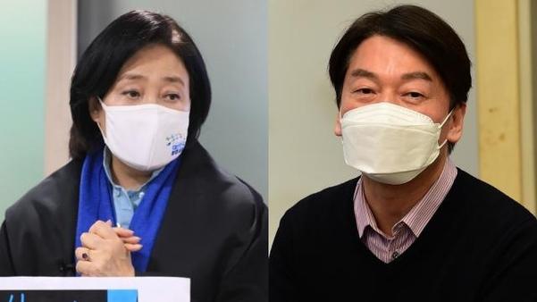 서울 시장 보궐 선거 가상 대결 안철수 43.5 % 박영선 40.6 %