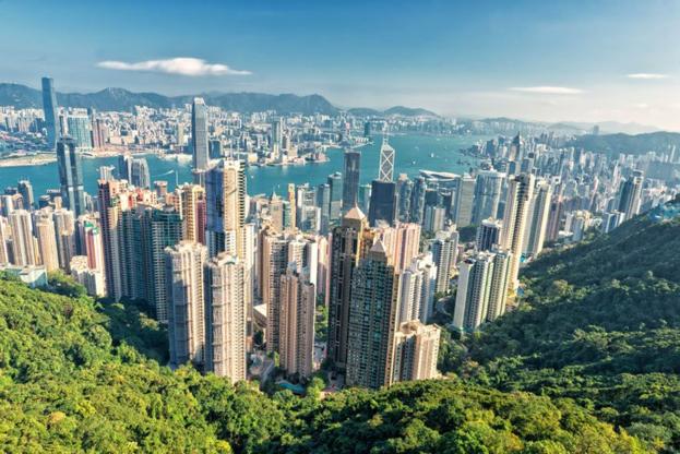 빅토리아 피크에서 바라본 홍콩의 빌딩숲. /트위터 캡처
