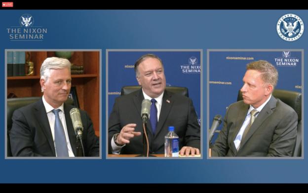 왼쪽부터 로버트 오브라이언 전 미국 백악관 국가안보고문, 마이클 폼페이오 전 미 국무장관, 피터 틸 페이팔 공동 창립자. /리처드닉슨재단