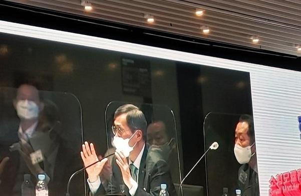 정재훈 한수원 사장이 14일 오전 서울 여의도 글래드호텔에서 열린 '혁신형 SMR 국회포럼' 출범식에서 발언을 하고 있다. / 이재은 기자
